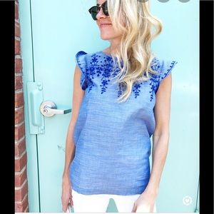 Ann Taylor Loft Outlet embroidered chambray Top